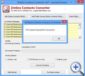 add Zimbra contacts