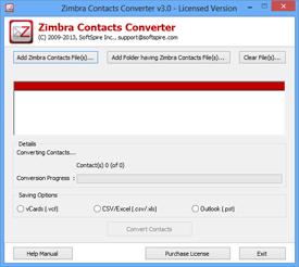 launch Zimbra Address Book Export Tool