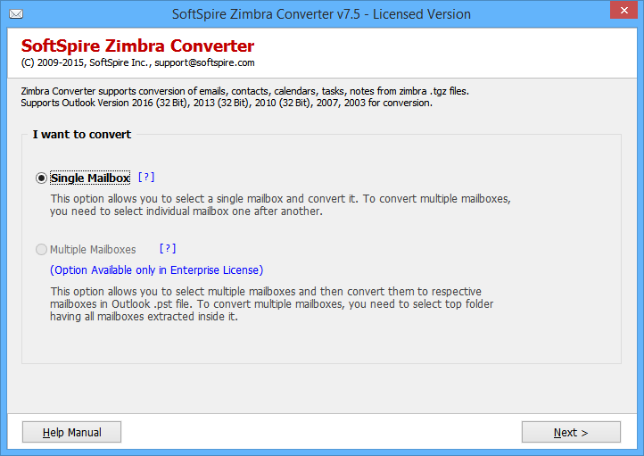 Zimbra Emails to Outlook full screenshot